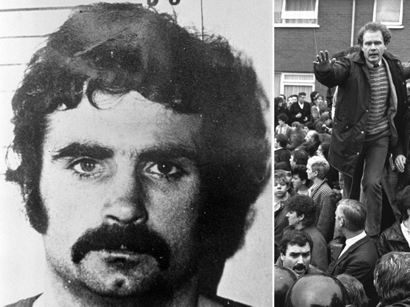 Freddie Scappaticci, codenamed Stakeknife, in 1974; and pictured bottom left at an IRA funeral in 1987