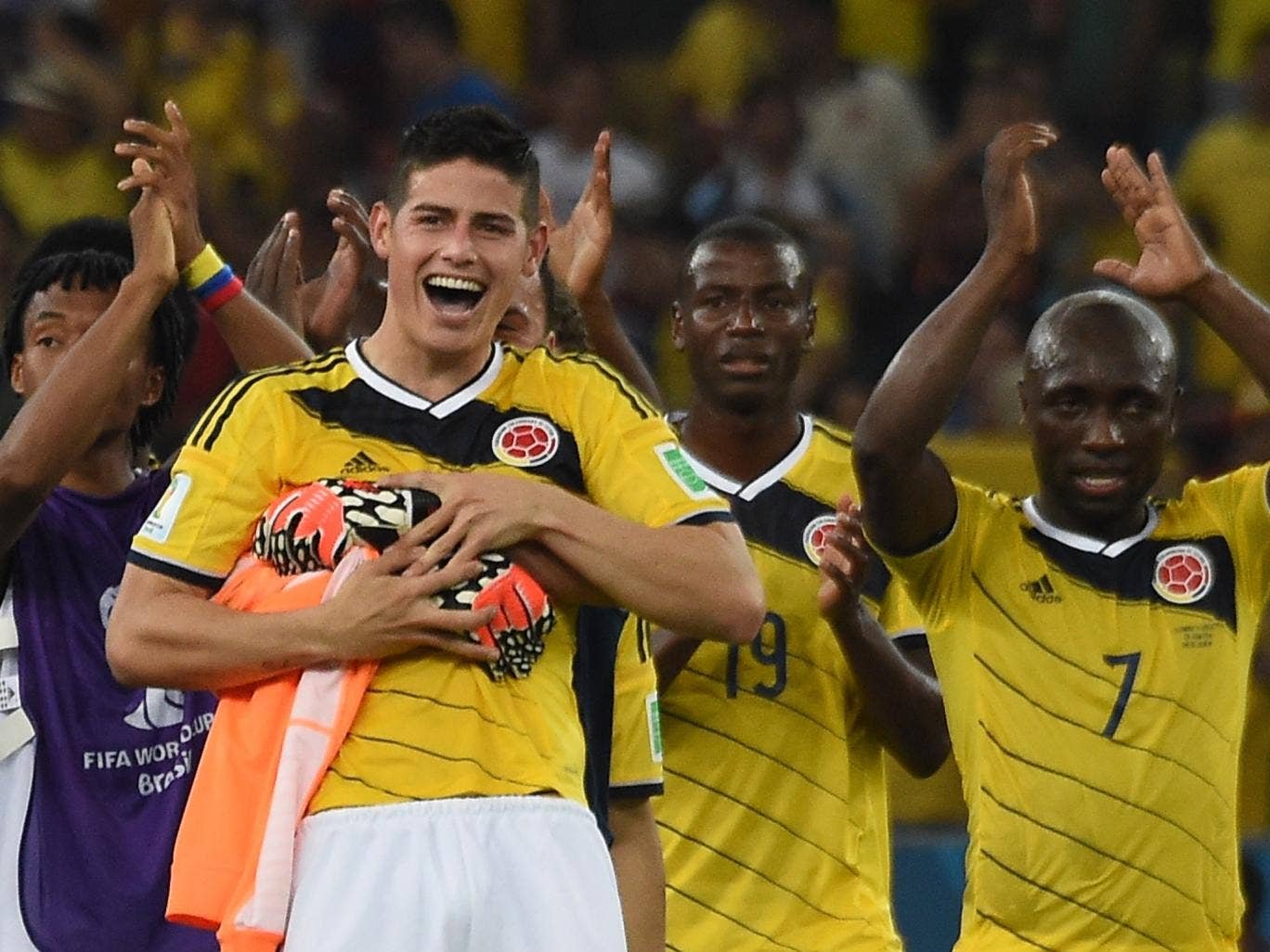 James Rodriguez pictured after Colombia's 2-0 win over Uruguay