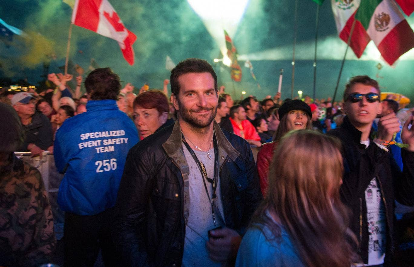 Bradley Cooper during the Metallica set at Glastonbury