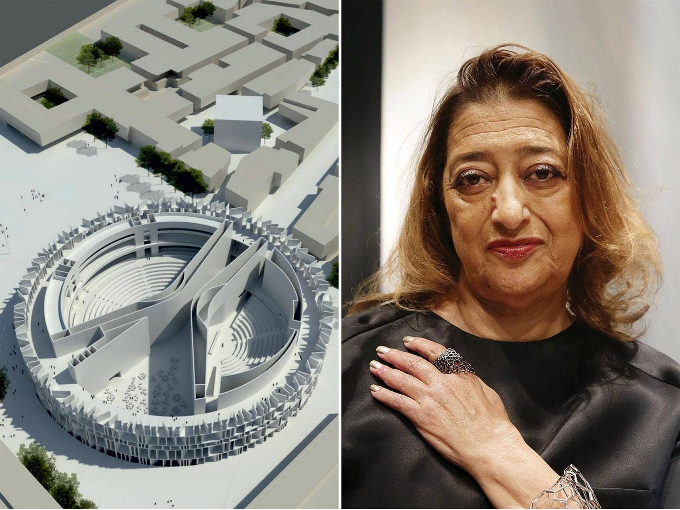The design by British studio Assemblage, left, won the open competition, with Zaha Hadid's entry coming third
