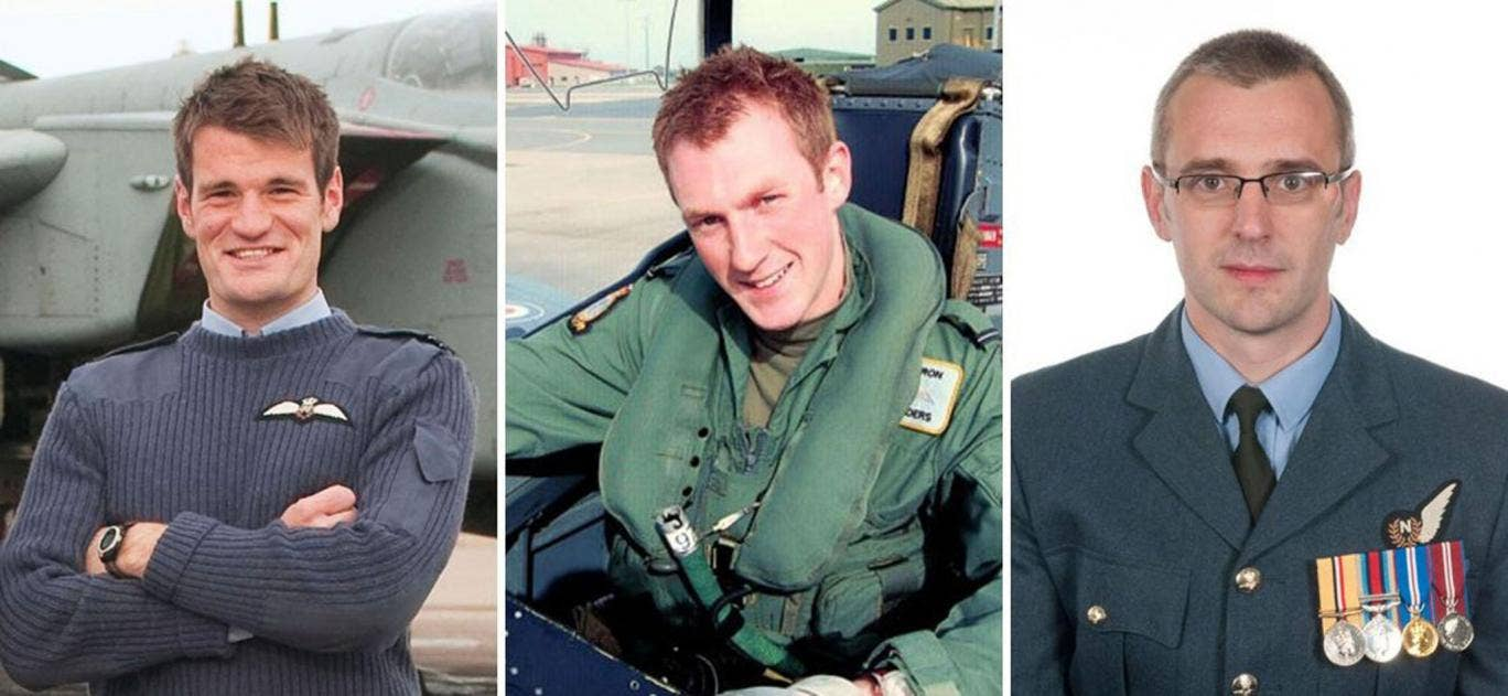 Flight Lieutenant Hywel Poole (left), Flight Lieutenant Adam Sanders (centre) and Squadron Leader Samuel Bailey who all died in the accident