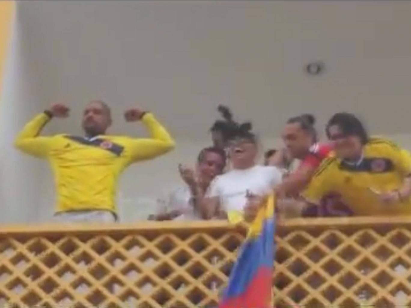 Will Smith celebrating Colombia's victory over Uruguay