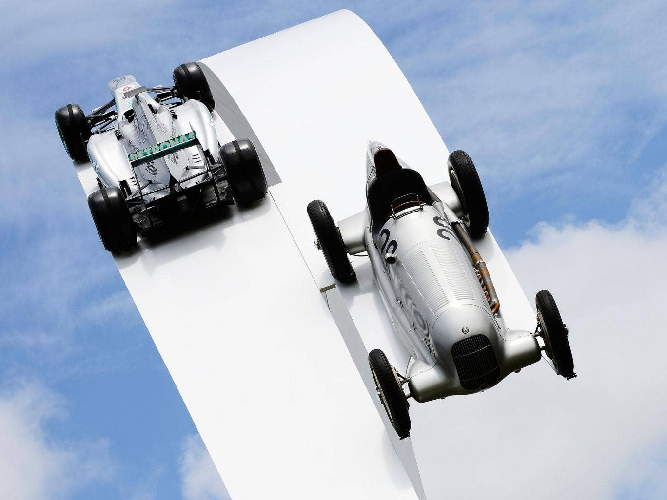 The Mercedes sculpture at the Goodwood Festival of Speed