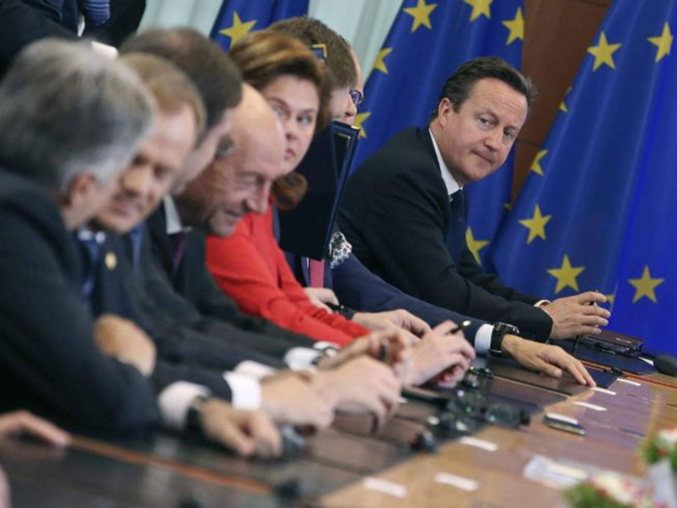 Cameron at the EU summit last week: he was doomed to try and fail in his mission to block the appointment of Juncker