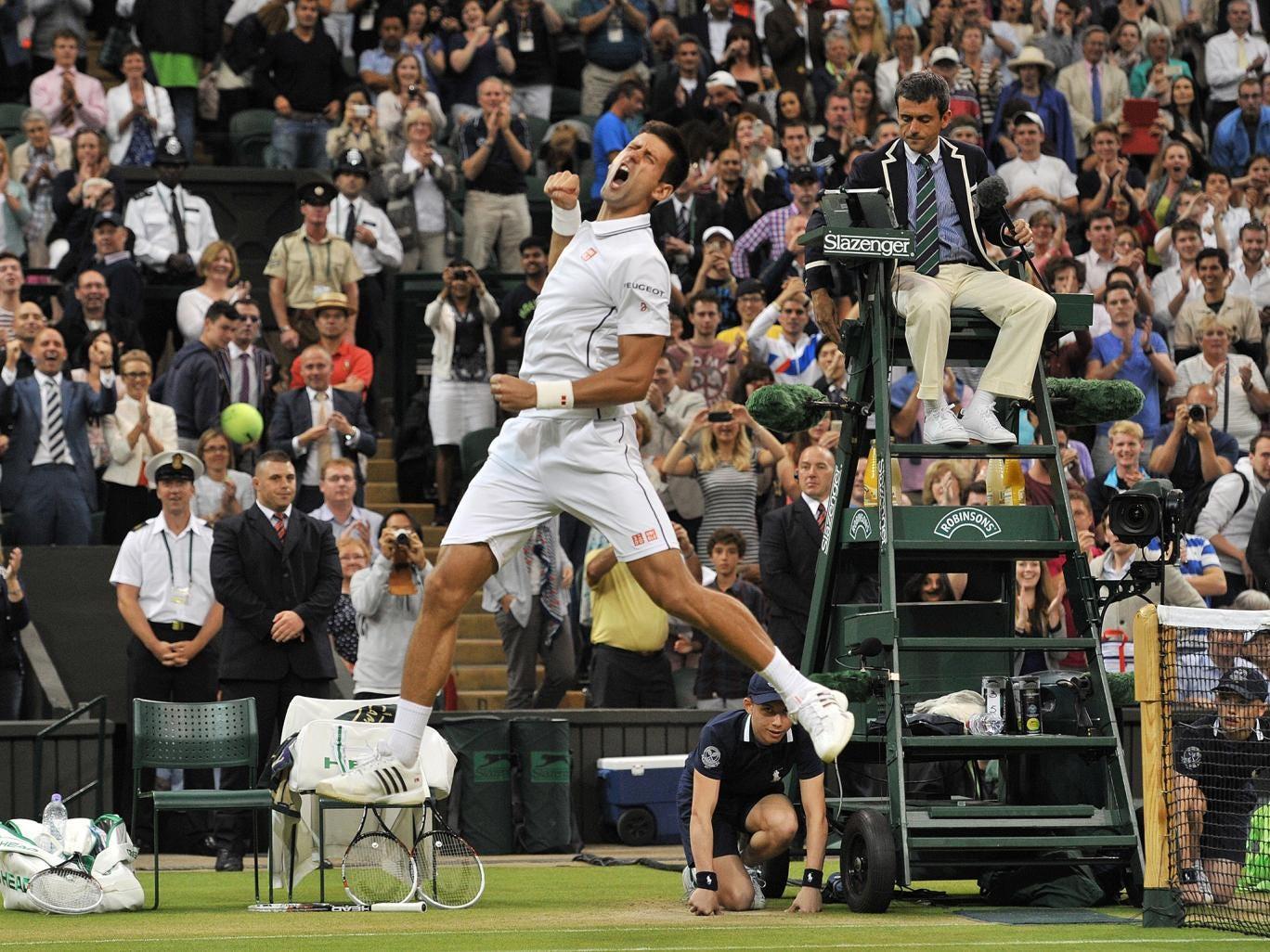 Novak Djokovic celebrates his win over Jo-Wilfried Tsonga