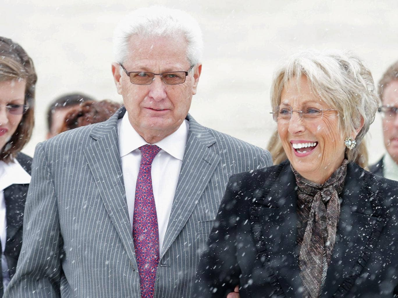 Hobby Lobby co-founders David Green and Barbara Green leave the US Supreme Court