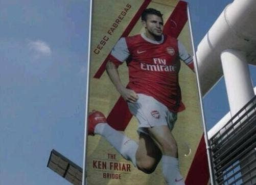 The Cesc Fabregas banner on the Ken Friar Bridge banner before it was removed