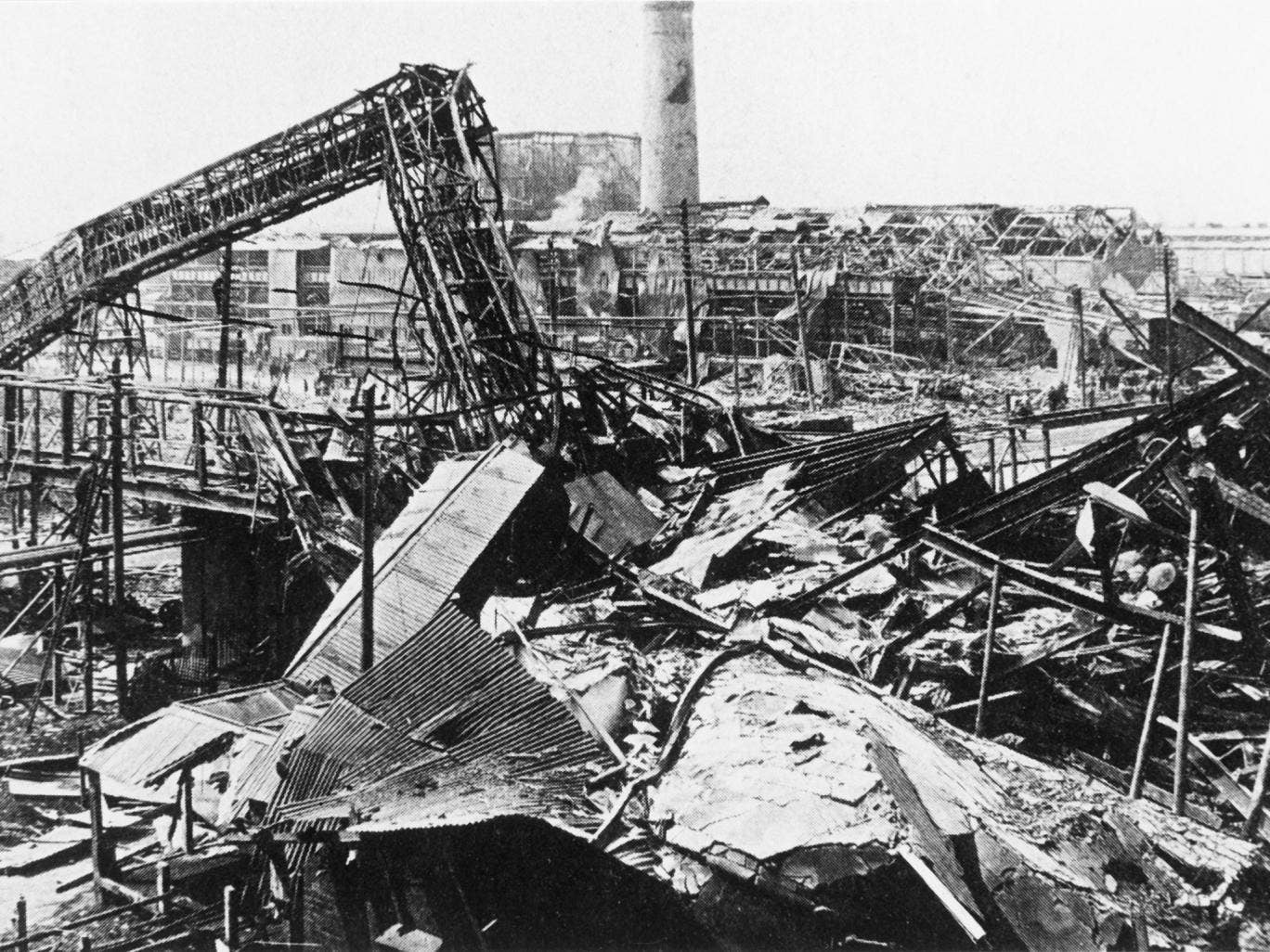 The aftermath of the explosion at the munitions plant in Chilwell