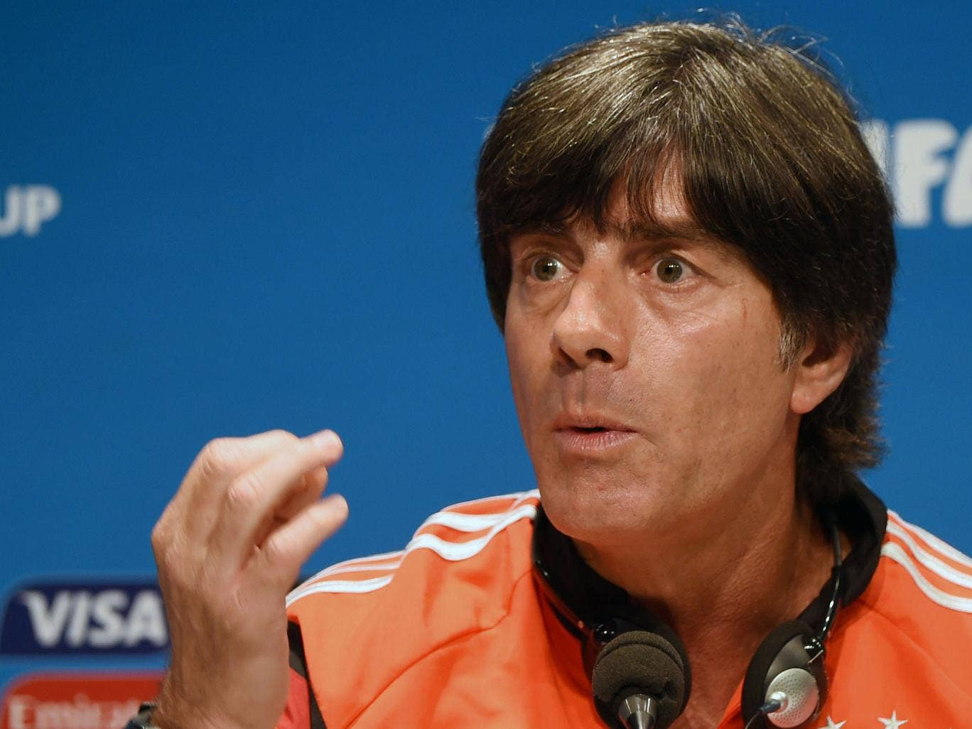 Joachim Löw speaks to the press ahead of the France fixture