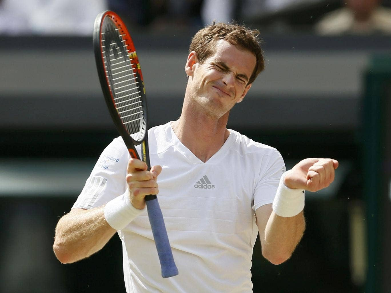 Andy Murray reacts during his defeat to Grigor Dimitrov