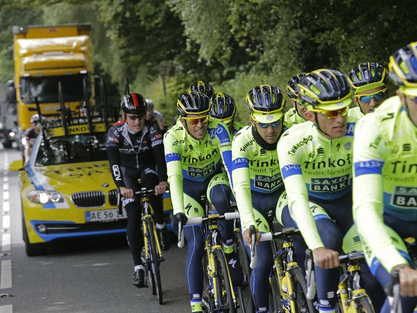 Team Tinkoff Saxo during a training session in Leeds ahead of Saturday's start of the Tour de France
