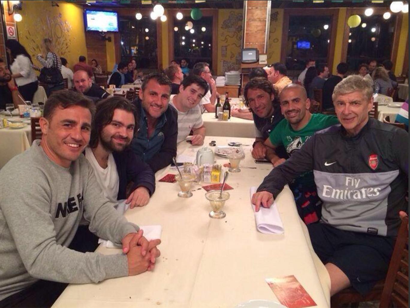 Arsene Wenger with Christian Vieiri, Juan Sebastian Veron and Fabio Cannavaro