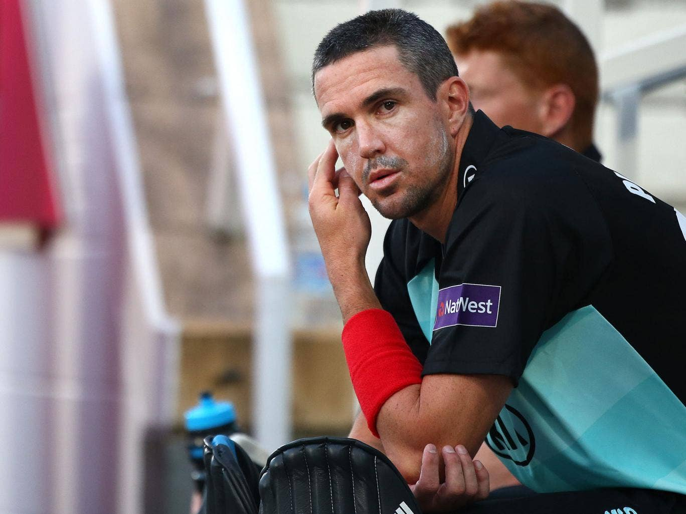 Kevin Pietersen of Surrey sits on the bench waiting to come on to bat during the Natwest T20 Blast match between Surrey and Sussex Sharks