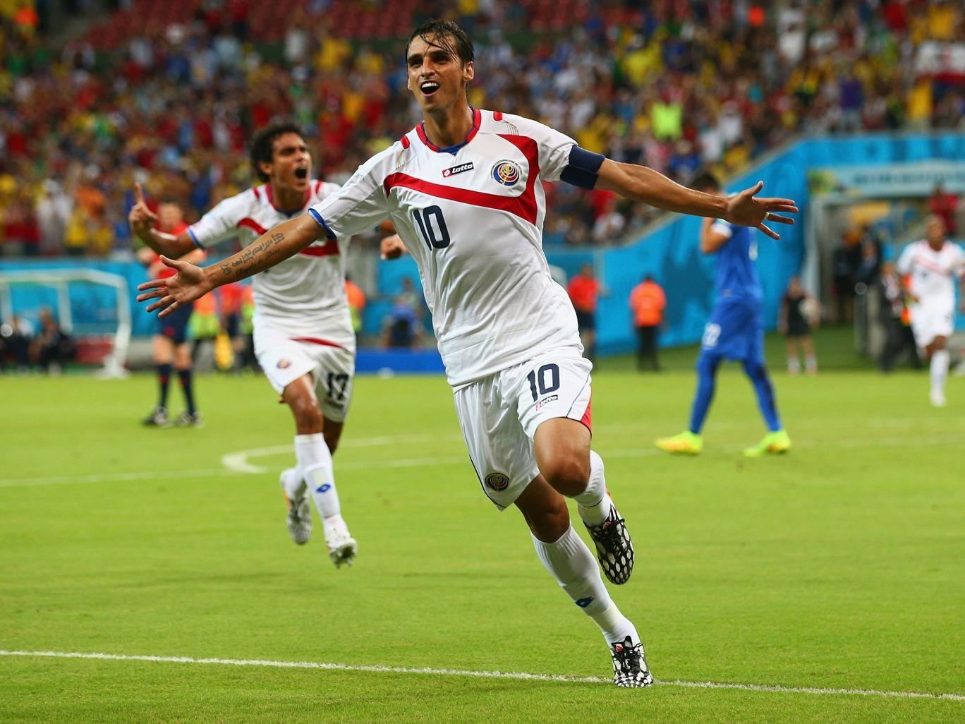 Costa Rica's captain Bryan Ruiz pounces against Greece