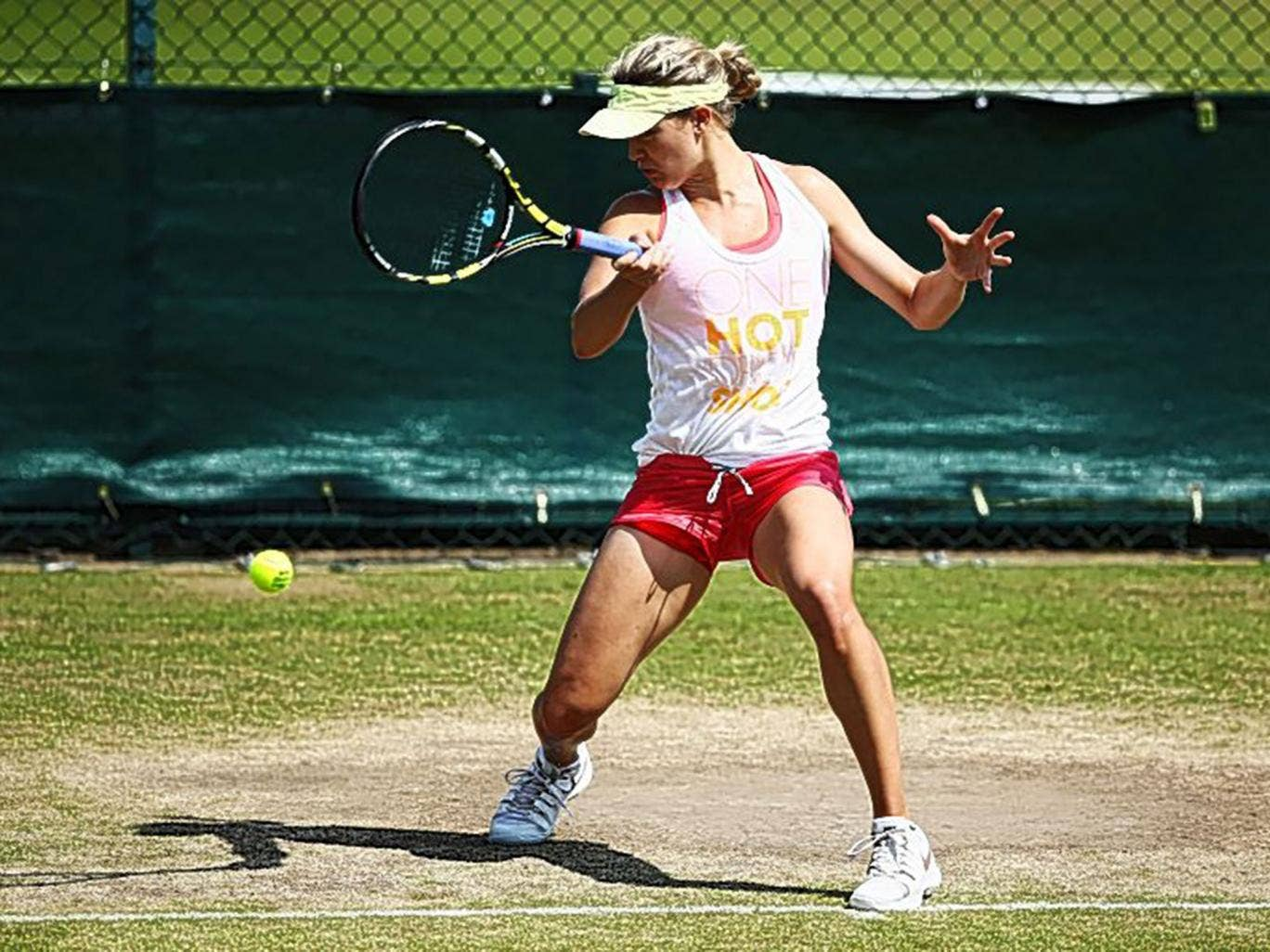 Canada's Eugenie Bouchard at a practice session for the final yesterday