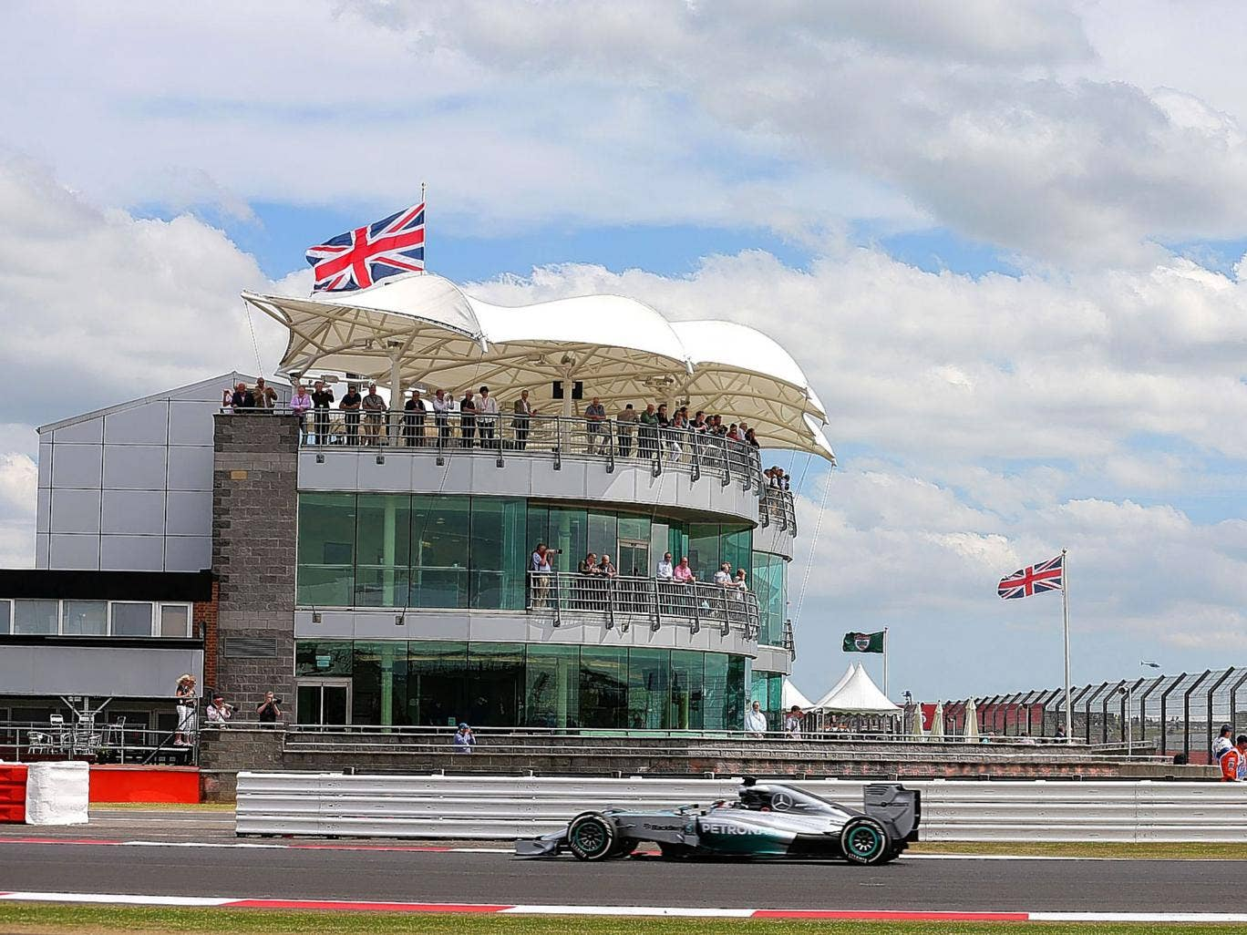 Lewis Hamilton set the fastest time during practice at Silverstone yesterday, although he later suffered engine failure
