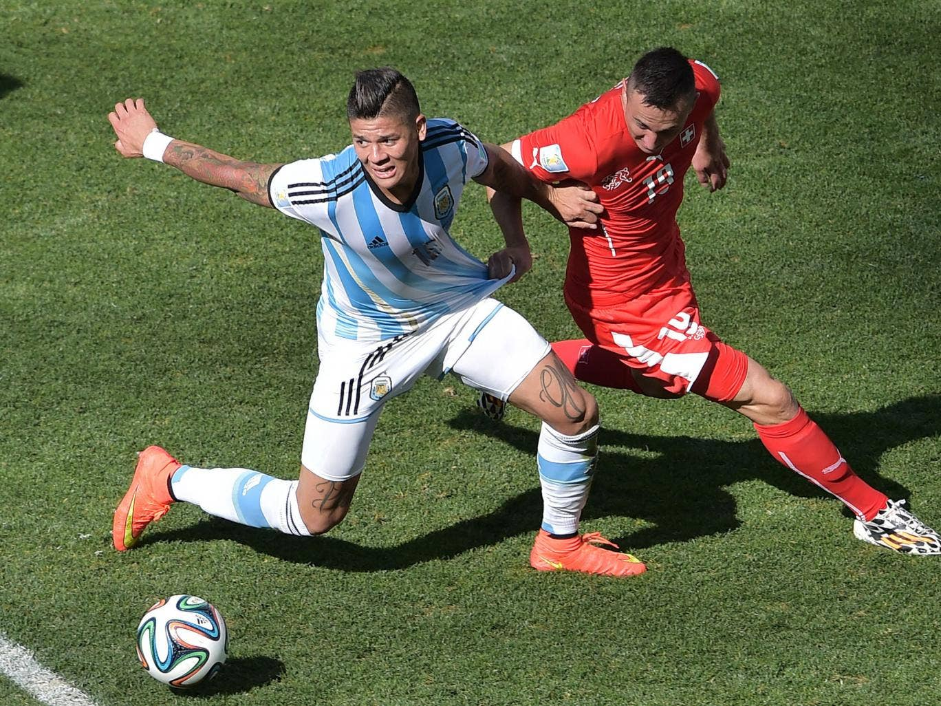Left back Marcos Rojo has been one of Argentina's biggest attacking threats