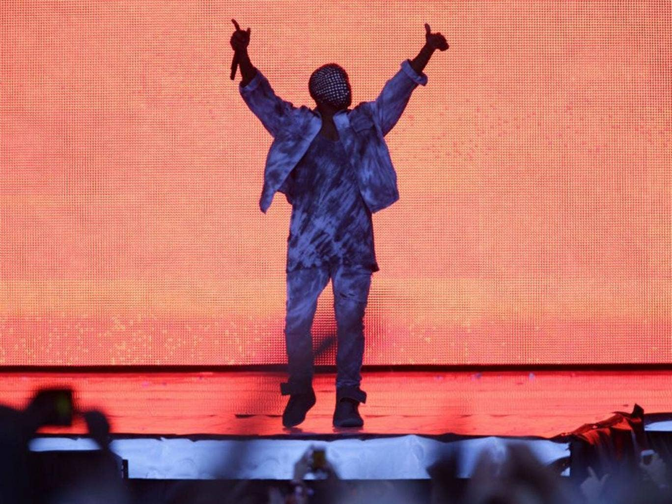 Kanye West performed in a chain mail mask at Wireless Festival in Finsbury Park