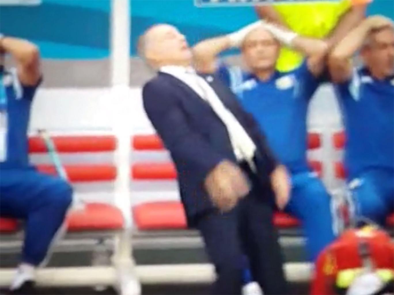 Alejandro Sabella reacts after Gonzalo Higuain's shot hits the bar