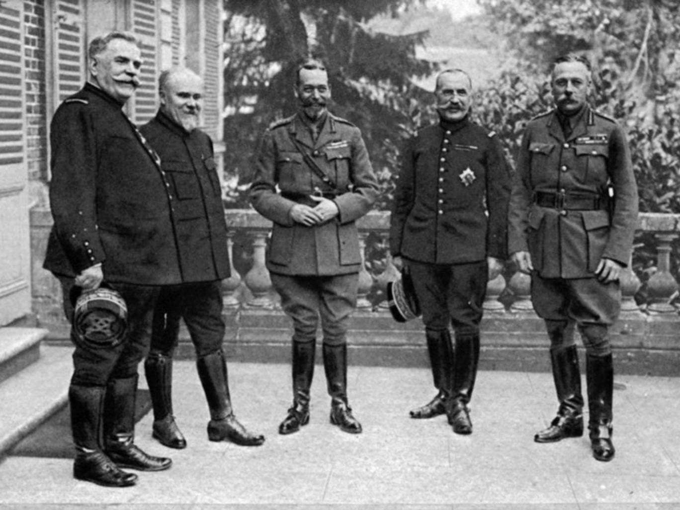 From left, Marshal Joffre, President Henri Poincaré, King George V, General Foch, and Field-Marshal Haig