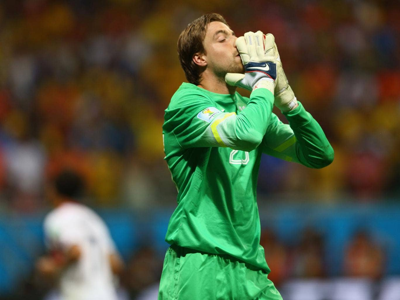 Netherlands' substitute goalkeeper Tim Krul celebrates after saving two penalties in the shootout victory over Costa Rica