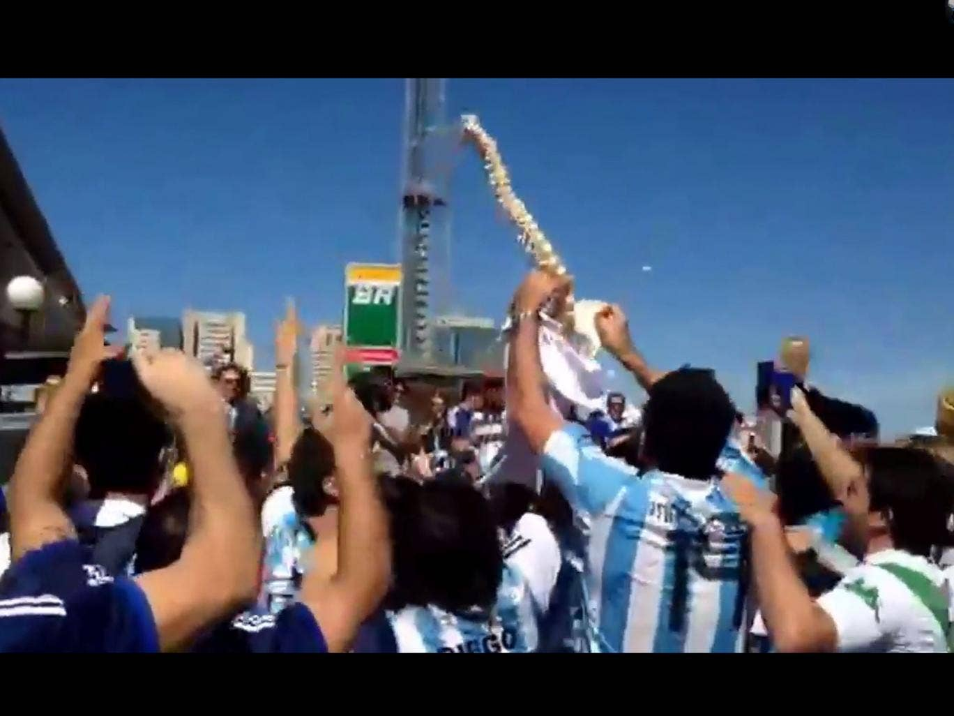 Argentina fans with a spinal cord skeleton