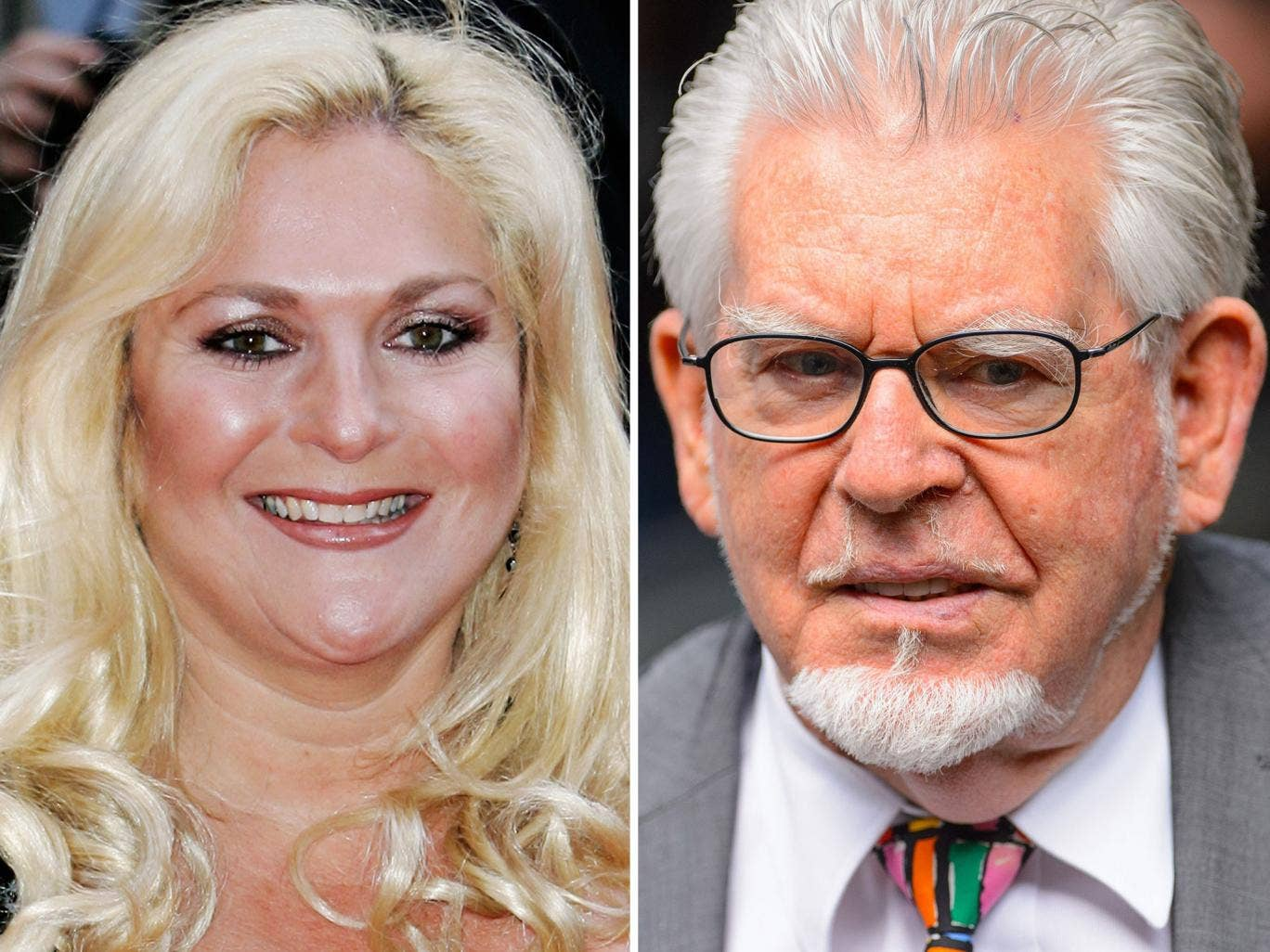 Vanessa Feltz at the 2006 Bafta awards and Rolf Harris, as he arrived for sentencing at Southwark Crown Court last week