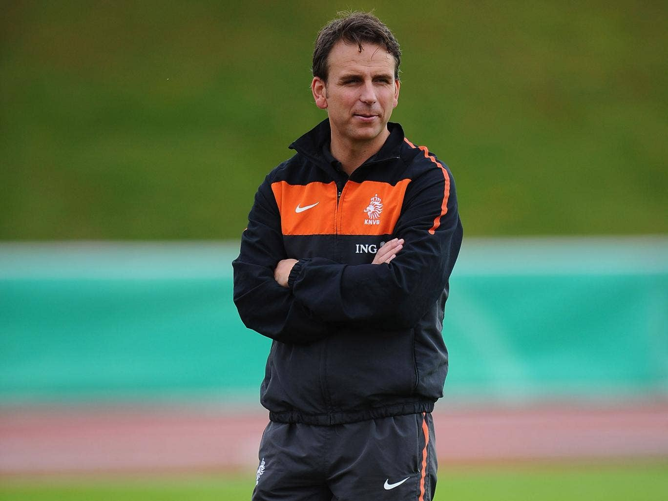 Albert Stuivenberg looks on during training with the Netherlands