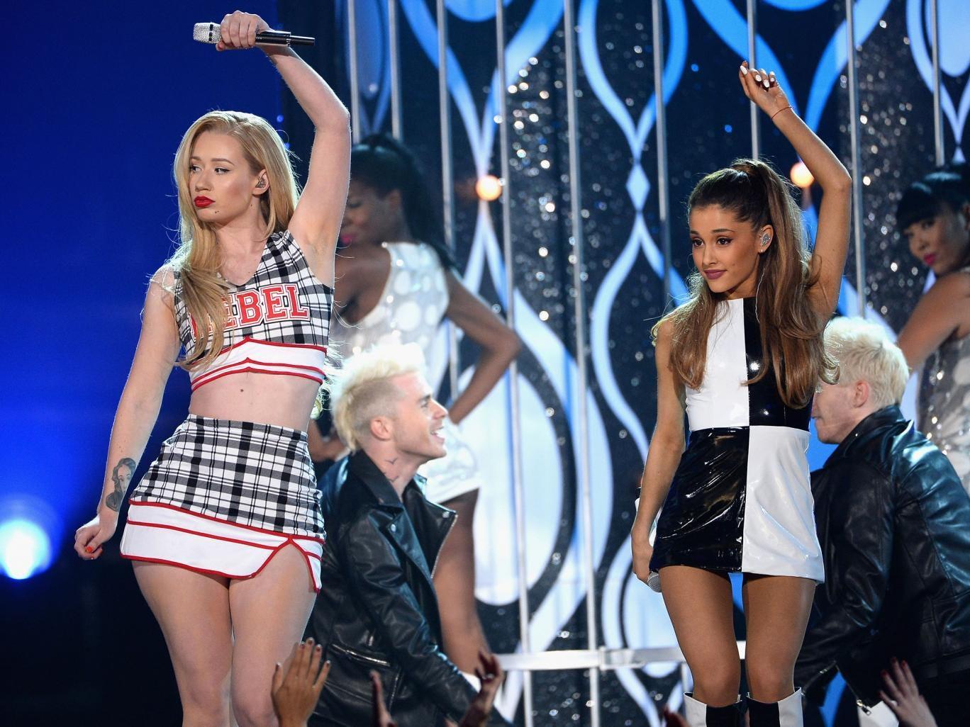 Ariana Grande and Iggy Azalea perform on stage at the Billboard Music Awards 2014