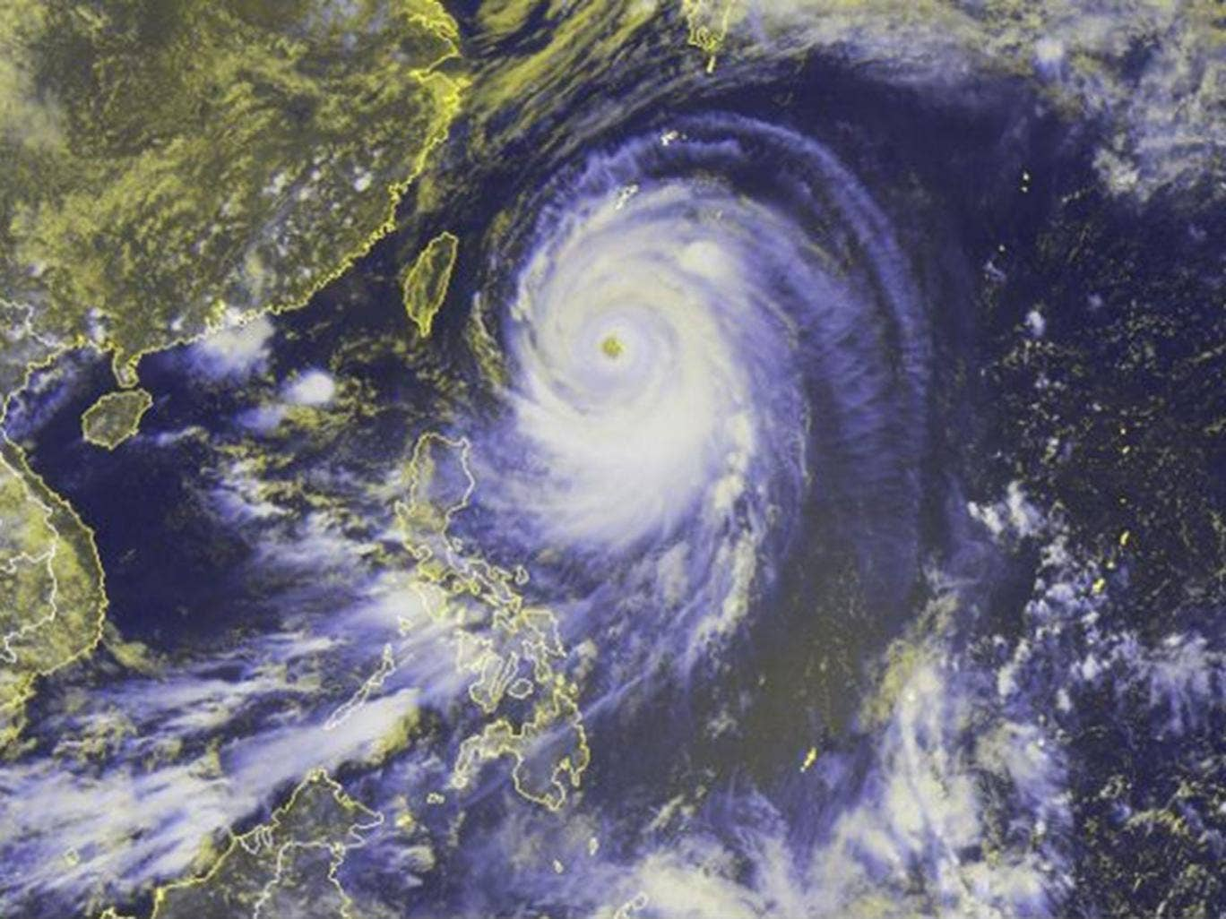 Satellite image made available by the National Oceanic and Atmospheric Administration (NOAA) on 07 July 2014 showing typhoon Neoguri, the first super typhoon of 2014 heading towards Japan
