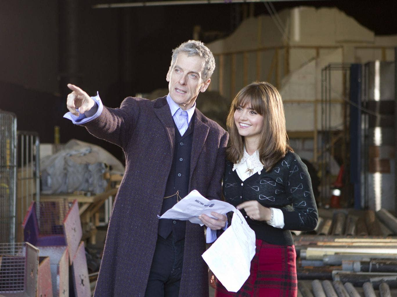 Peter Capaldi and Jenna Coleman as Doctor Who and Clara behind the scenes
