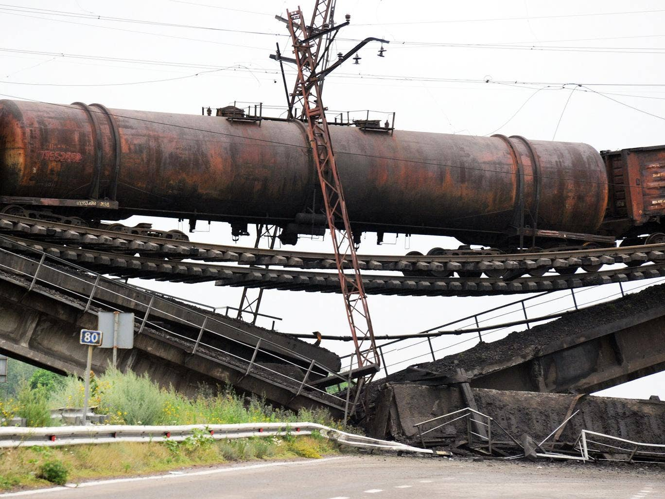 A railway bridge, damaged during the night of 6-7 July, near the village of Novobakhmutivka, 30 km north of Donetsk