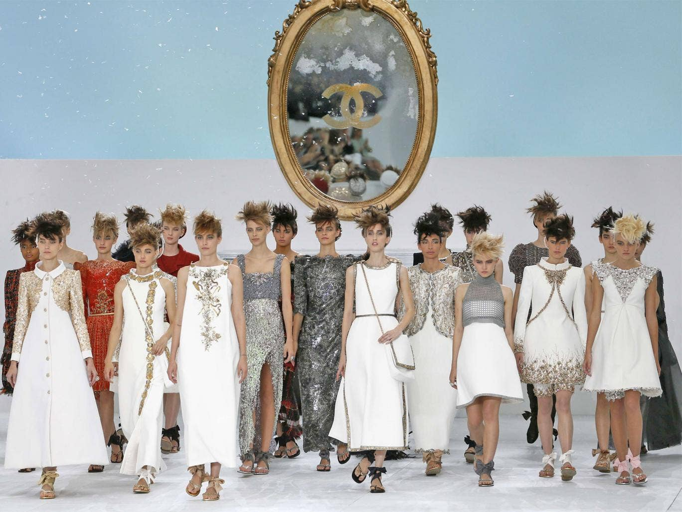 Models present creations for Chanel during the 2014/2015 Haute Couture Fall-Winter collection fashion show