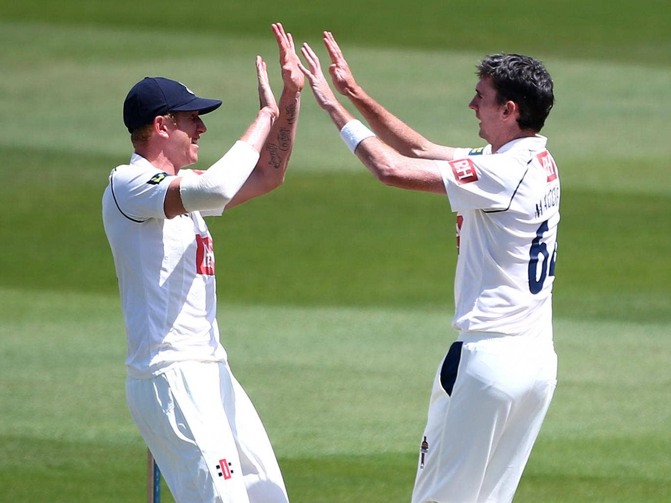 Steve Magoffin of Sussex celebrates with team mate Luke Wells