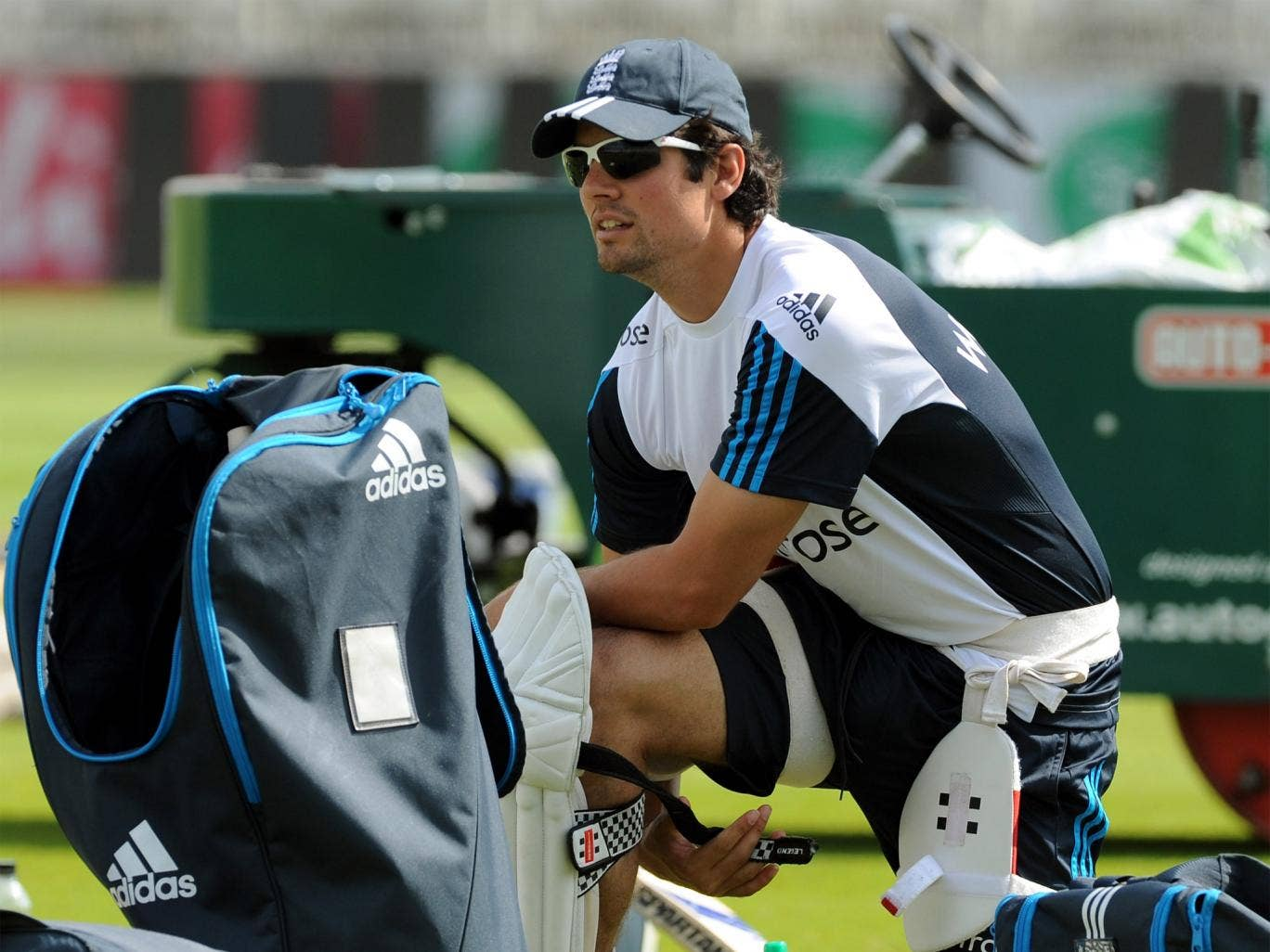 Alastair Cook prepares for a net session at Trent Bridge