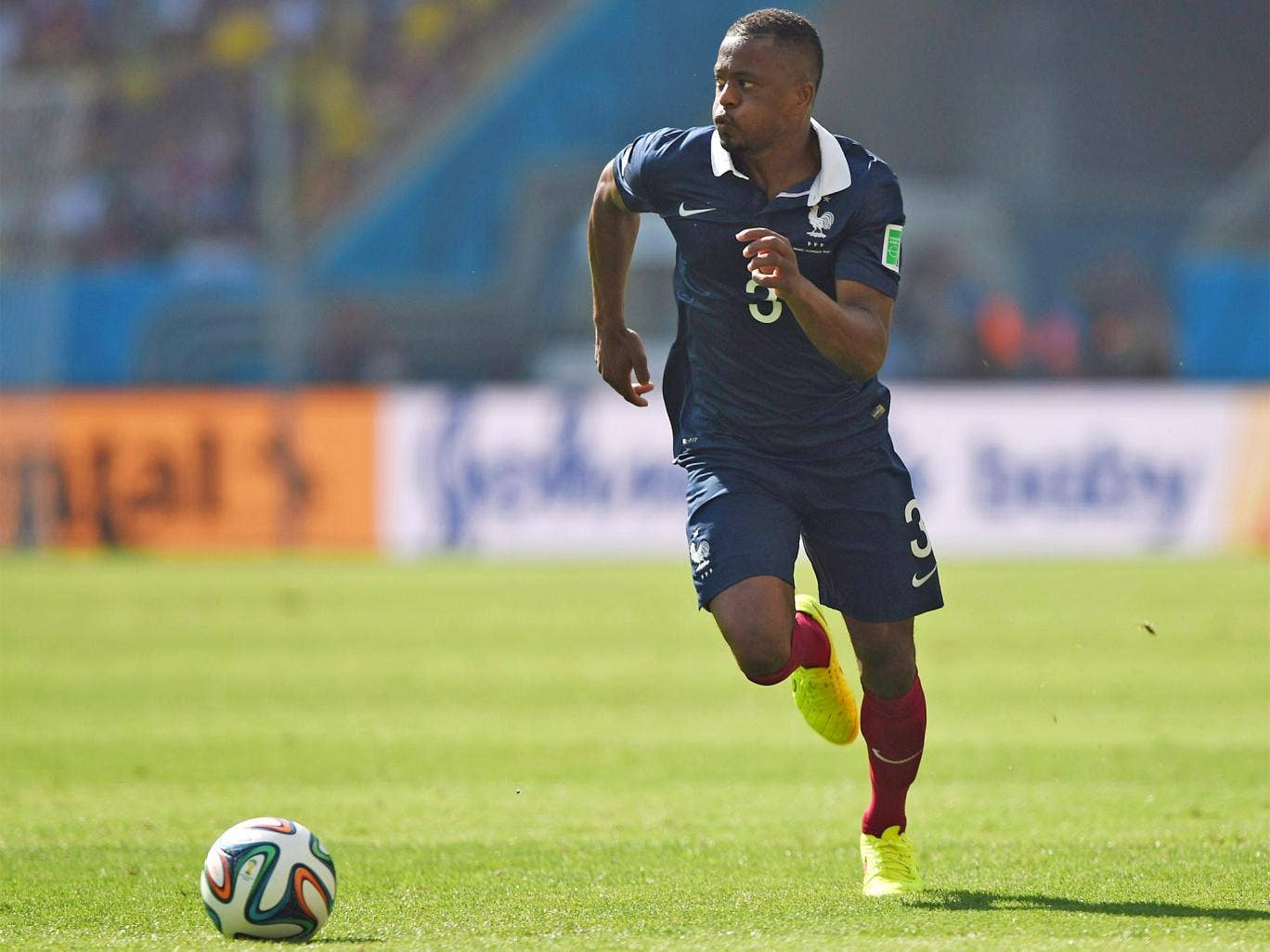 Patrice Evra in World Cup action for France