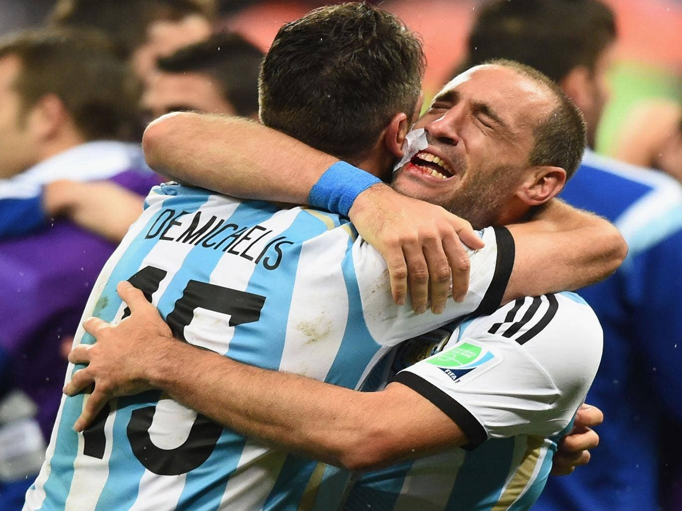 Pablo Zabaleta celebrates Argentina's World Cup semi-final penalty shootout win over the Netherlands.