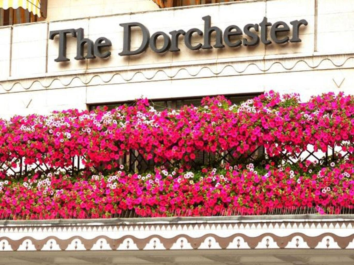 The main entrance to the Dorchester Hotel in Park Lane, central London