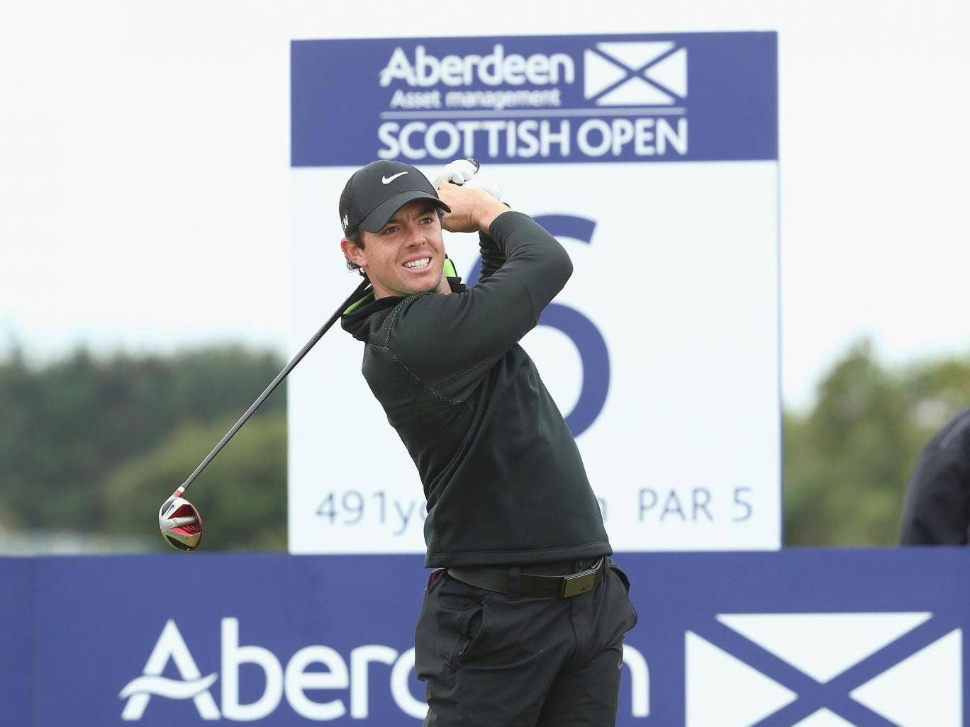 Rory McIlroy tees off in Aberdeen yesterday