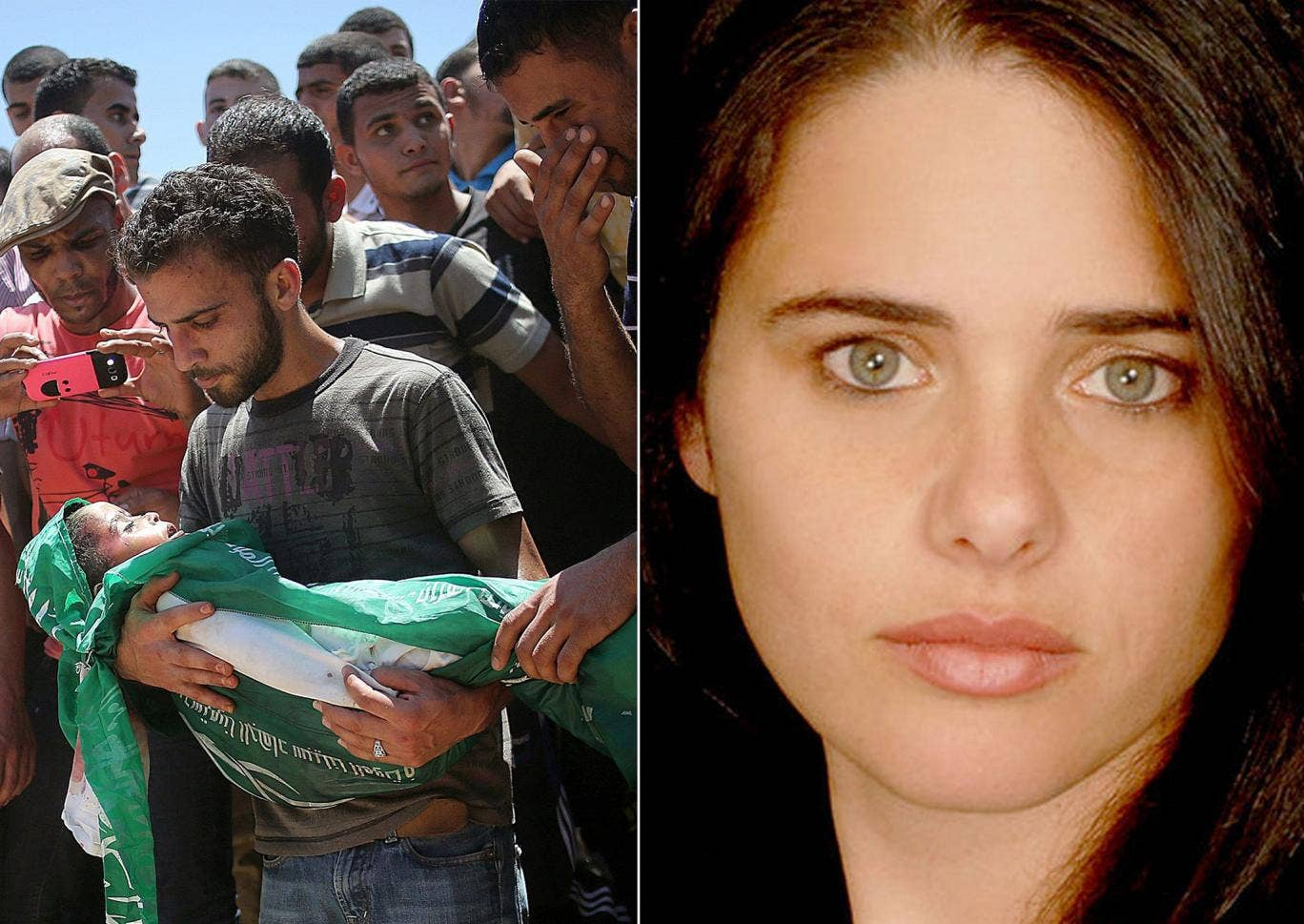 Left: Palestinians carry the body of three-year-old Mohammed Mnassrah; Right: Ayelet Shaked, a member of the Jewish Home party in Israel's Knesset
