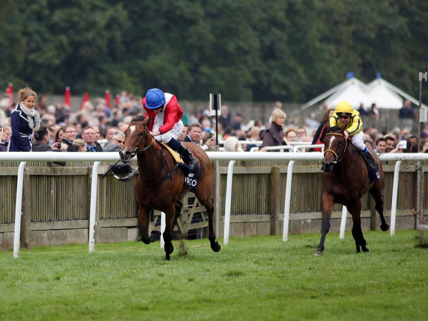 Ryan Moore lands the Falmouth Stakes on Integral from Rizeena at Newmarket yesteday