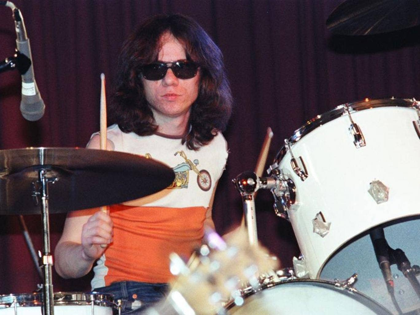 Tommy Ramone performing  at The Old Waldorf Nightclub in 1978 in San Francisco, California.