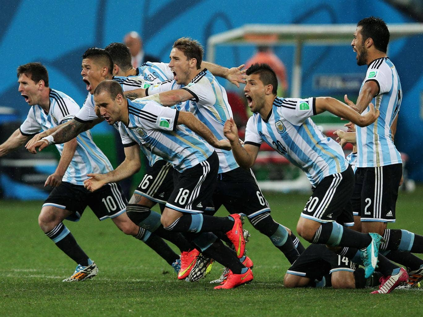 Argentina celebrate their World Cup semi-final penalty shootout victory over the Netherlands