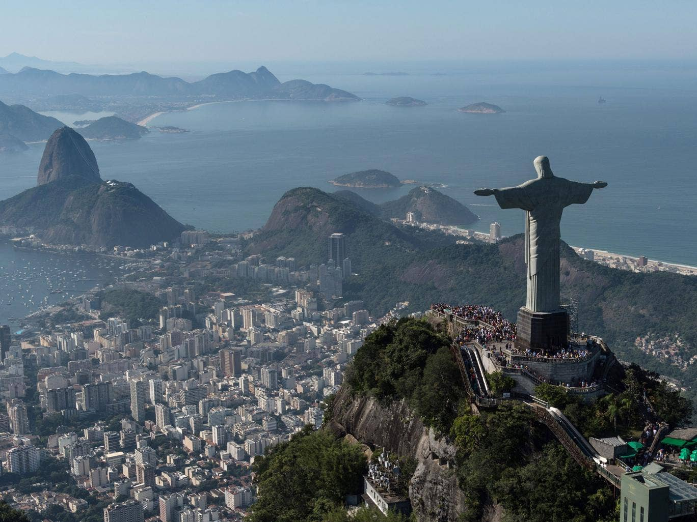 Aerial view of Christ the Redeemer statue, in Rio de Janeiro, Brazil, taken on June 26