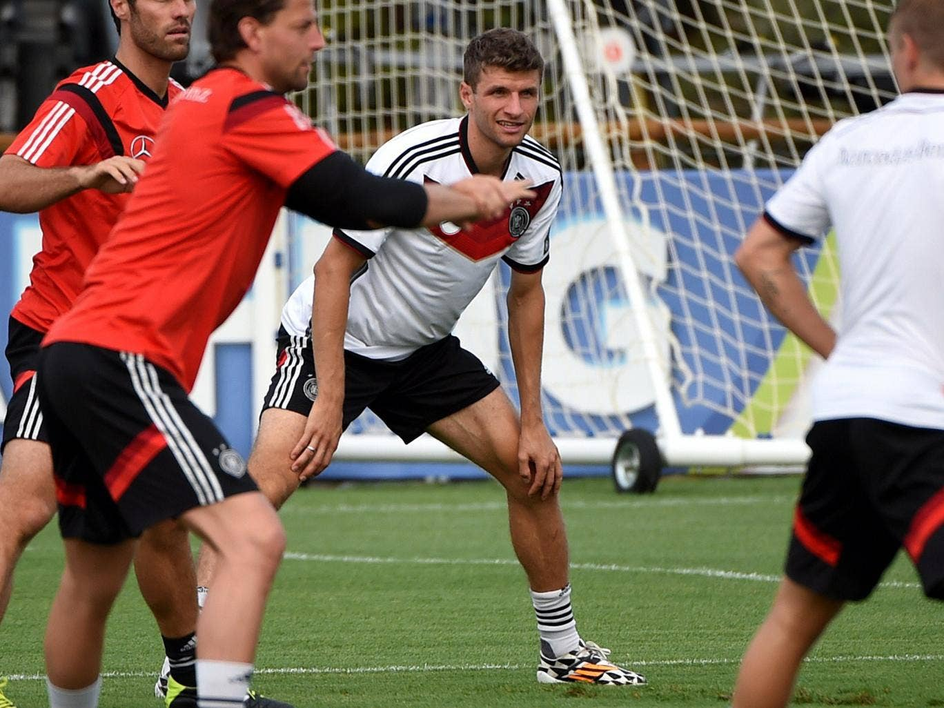 Thomas Muller trains with Germany ahead of the World Cup final
