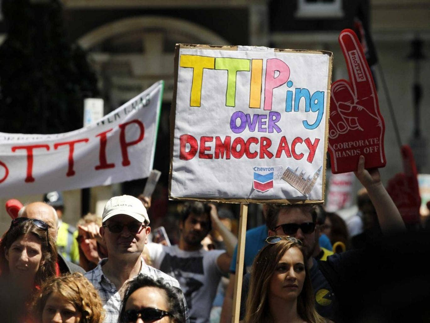 Marching through London yesterday against the 'secret' EU/US deal which is backed by all three main political parties
