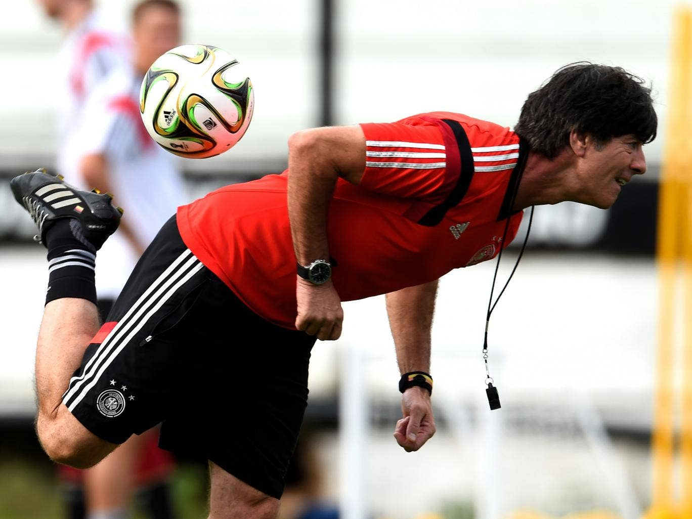 Joachim Löw trains with his Germany squad ahead of the World Cup final