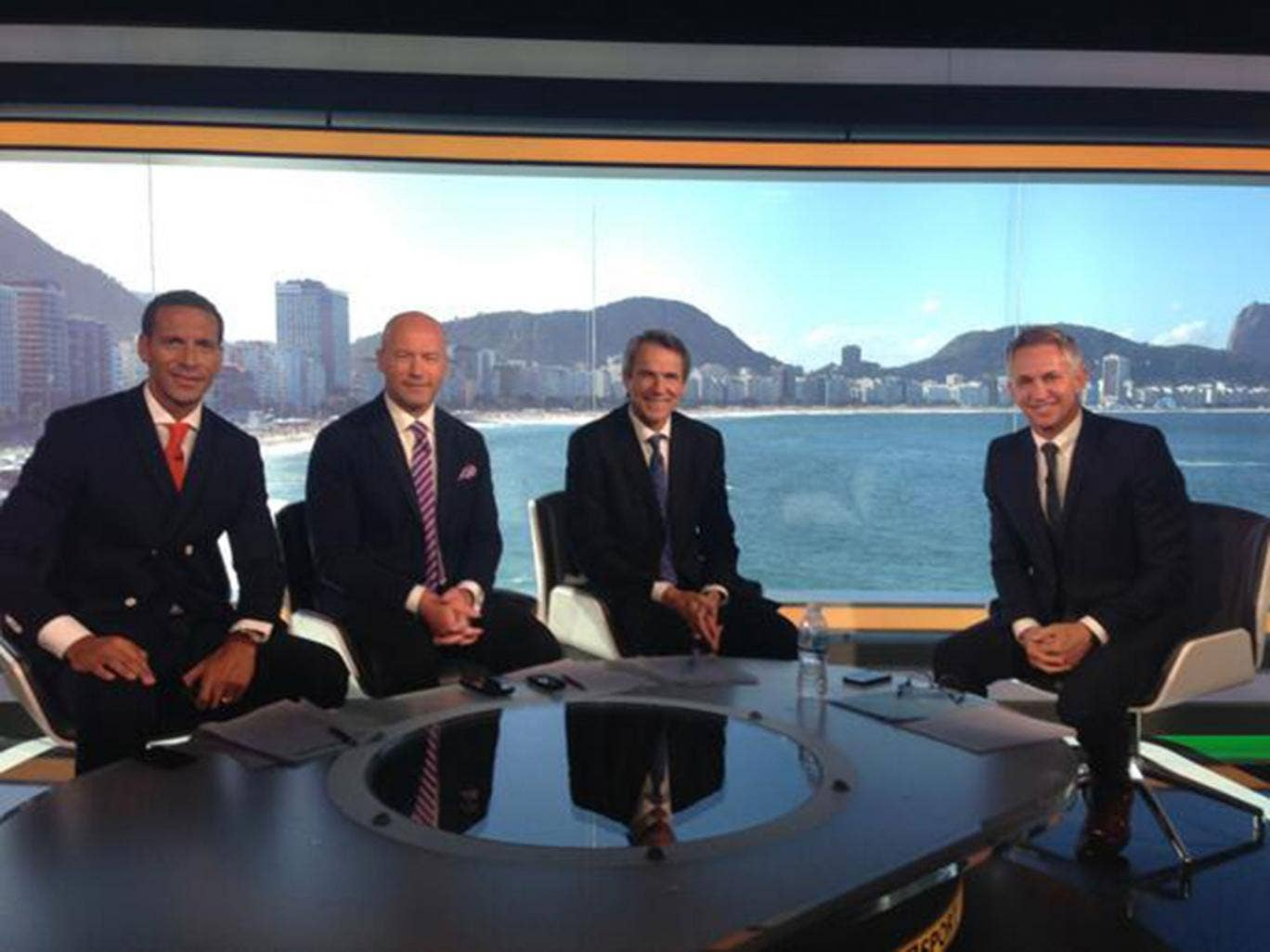 Rio Ferdinand, Alan Shearer, Alan Hansen and Gary Lineker during Hansen's final broadcast