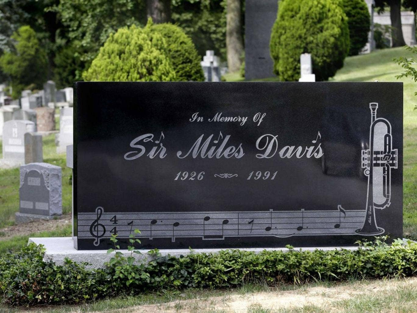 The headstone of jazz great Miles Davis at Woodlawn Cemetery in New York
