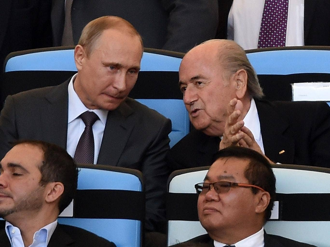 Sepp Blatter takes his seat for the World Cup final along with Vladimir Putin